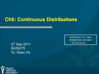 Ch6: Continuous Distributions