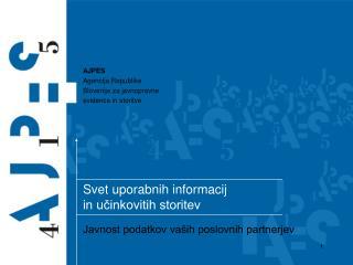 Svet uporabnih informacij  in u?inkovitih storitev