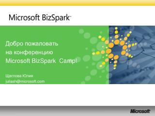 Добро пожаловать на конференцию  Microsoft BizSpark  Camp!