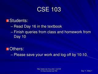 CSE 103