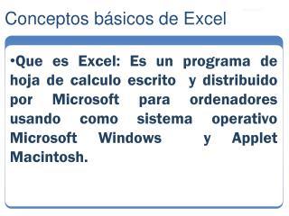 Conceptos básicos de Excel