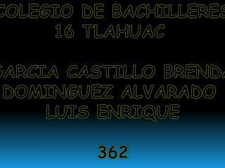 COLEGIO DE BACHILLERES 16 TLAHUAC  GARCIA CASTILLO BRENDA DOMINGUEZ ALVARADO  LUIS ENRIQUE 362