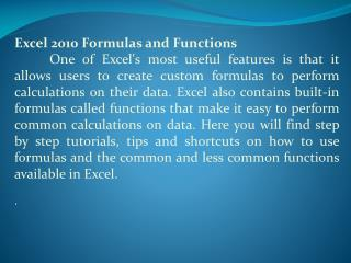 Excel 2010 Formulas and Functions