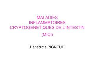 MALADIES INFLAMMATOIRES CRYPTOGENETIQUES DE L'INTESTIN (MICI) Bénédicte PIGNEUR