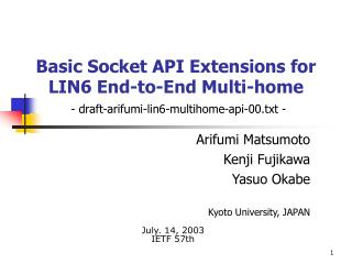 Basic Socket API Extensions for  LIN6 End-to-End Multi-home