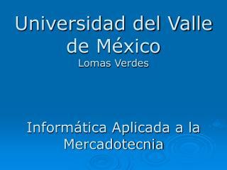 Universidad del Valle de México Lomas Verdes Informática Aplicada a la Mercadotecnia