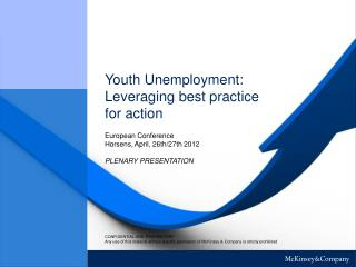 Youth Unemployment:  Leveraging best practice  for action