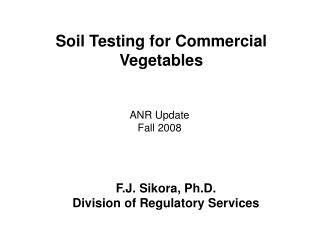 Soil Testing for Commercial Vegetables