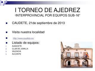 """I TORNEO DE AJEDREZ """" INTERPROVINCIAL POR EQUIPOS SUB-16"""""""