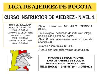 CURSO INSTRUCTOR DE AJEDREZ - NIVEL 1