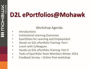 D2L  ePortfolios@Mohawk