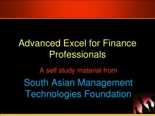 Advanced Excel for Finance Professionals