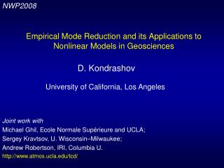 Empirical Mode Reduction and its Applications to Nonlinear Models in Geosciences