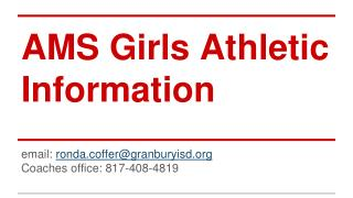 AMS Girls Athletic Information
