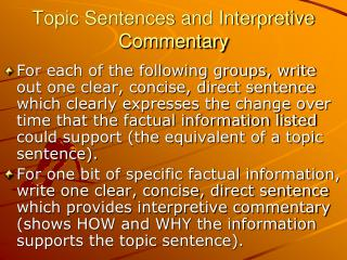 Topic Sentences and Interpretive Commentary