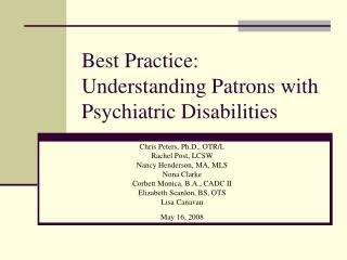 Best Practice: Understanding Patrons with Psychiatric Disabilities
