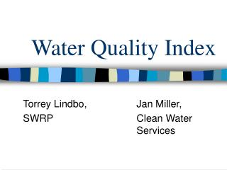 Water Quality Index