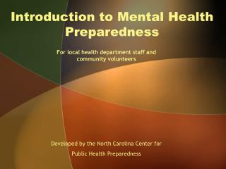 Introduction to Mental Health Preparedness