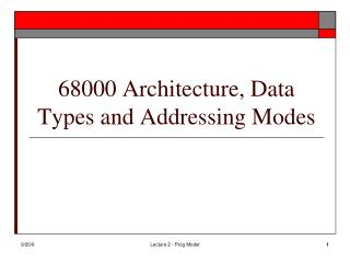 68000 Architecture, Data Types and Addressing Modes