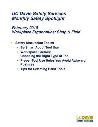 Safety Discussion Topics Be Smart About Tool Use
