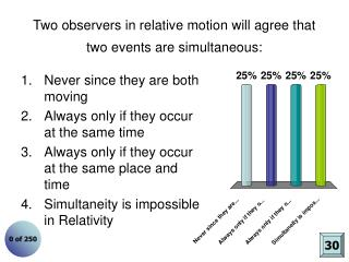 Two observers in relative motion will agree that two events are simultaneous: