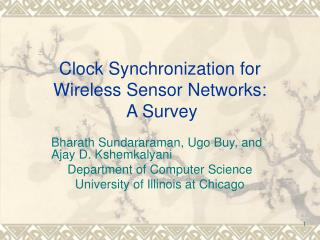 Clock Synchronization for Wireless Sensor Networks:  A Survey