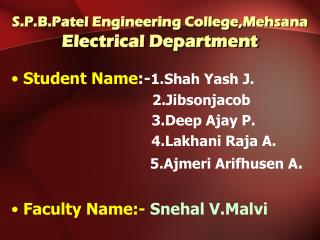 S.P.B.Patel Engineering College,Mehsana Electrical Department