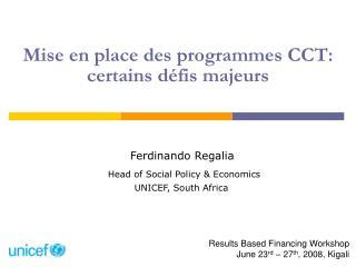 Mise en place des programmes CCT:  certains défis majeurs