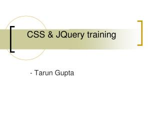 CSS & JQuery training