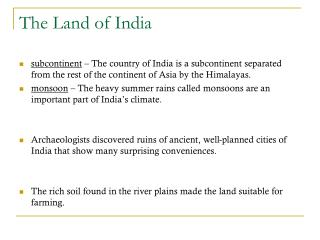 The Land of India