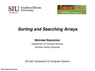 Sorting and Searching  Arrays