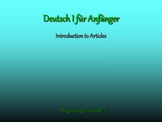 Deutsch I f r Anf nger