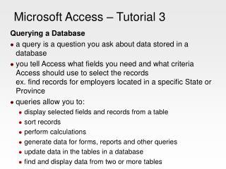 Microsoft Access – Tutorial 3