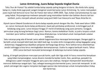Lance Armstrong, Juara Balap Sepeda tingkat Dunia