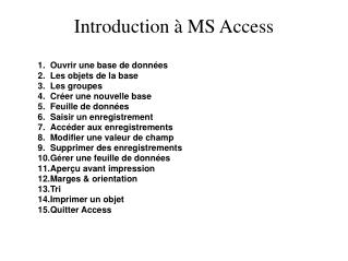 Introduction   MS Access
