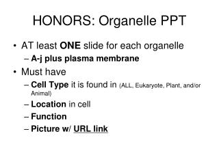 HONORS: Organelle PPT