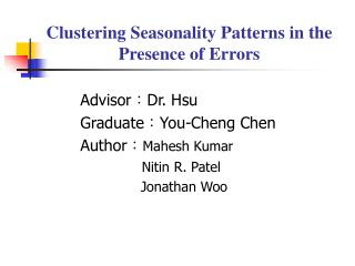 Clustering Seasonality Patterns in the Presence of Errors