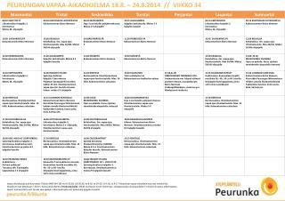 PEURUNGAN VAPAA-AIKAOHJELMA 18.8. – 24.8.2014  //  VIIKKO 34