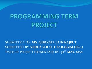 PROGRAMMING TERM PROJECT