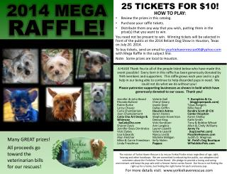 Many GREAT prizes! All proceeds go toward the veterinarian bills for our rescues!