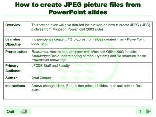 How to create JPEG picture files from PowerPoint slides
