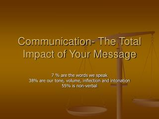 Communication- The Total Impact of Your Message