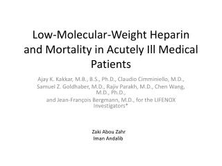 Low-Molecular-Weight Heparin and Mortality in Acutely Ill Medical Patients