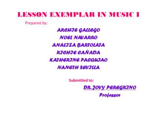 LESSON EXEMPLAR IN MUSIC I
