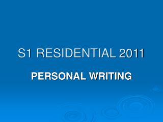 S1 RESIDENTIAL 2011