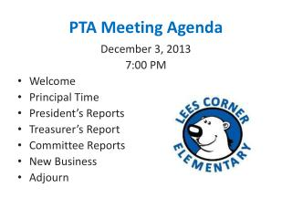 PTA Meeting Agenda