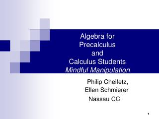 Algebra for  Precalculus  and  Calculus Students Mindful Manipulation