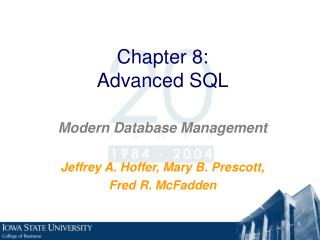 Chapter 8: Advanced SQL
