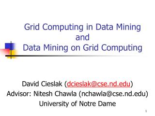 Grid Computing in Data Mining and  Data Mining on Grid Computing