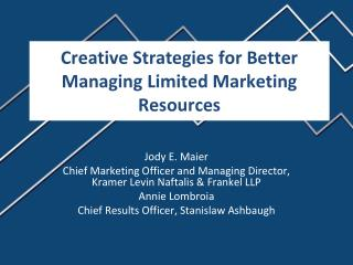 Creative Strategies for Better Managing Limited Marketing Resources